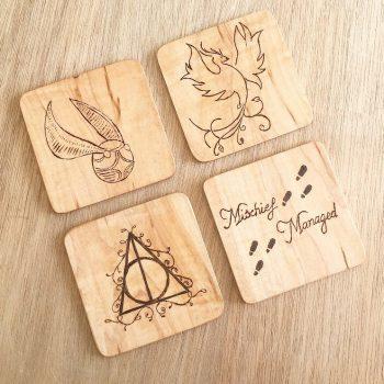 custom wooden drinks coasters